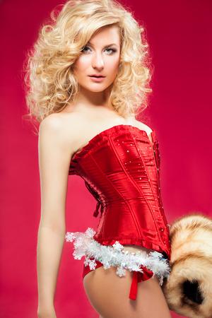 beautiful blonde sexy cheerful santa helper girl