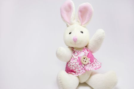 stuffed animals: A female rabbit plush toy.