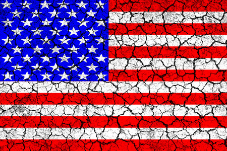 famine: Flag of USA painted on cracked wall. Political concept. Old texture. Vintage design. USA flag on cracked earth. Famine and drought. Natural disaster. Front view.