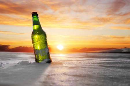 Bottle of Cold Beer. Beer advertising. Business concept. Stock Photo