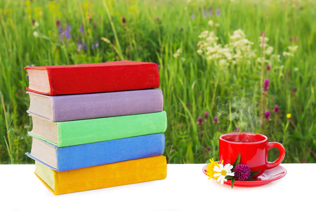 field study: Stack of multicolored books on the table and a red cup of hot tea on a saucer on the background of beautiful nature surrounded by meadows with herbs and flowers. Library at outdoor. The summer mood.