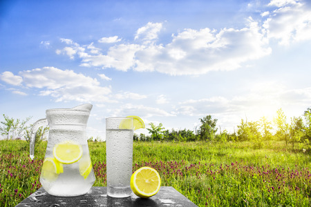 Fresh cold water with lemon and ice in a pitcher on the table.Homemade lemonade with fresh citruses on the background of nature. Quenching thirst.The condensation on the jug and a glass of cold water. Stock Photo