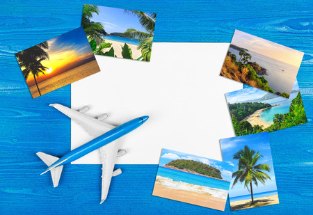 Travel by plane. Tropical resort. Advertising of company. Hotel booking.