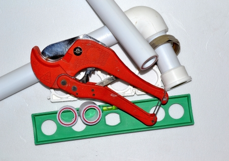 home tool, scissors plastic pipes photo