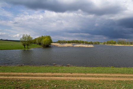 non urban: Landscape with a pond Stock Photo