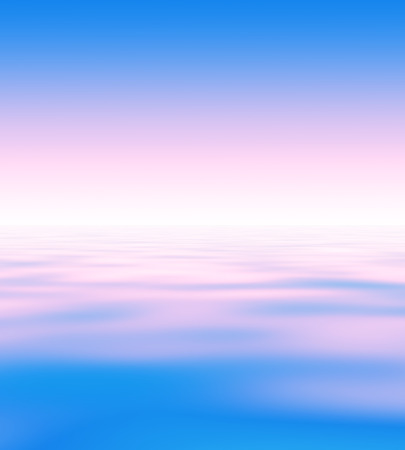 horison: Abstract natural blur serene (backdrop) with sky and water surface (wave pattern) divided by the horison line (skyline). Tender blue and pink gradient is presented. There is empty copy space (copyspace) to insert a text or an image. Stock Photo