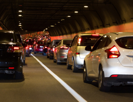 Urban transportation scene: traffic jam in a tunnel in Moscow (Russia).