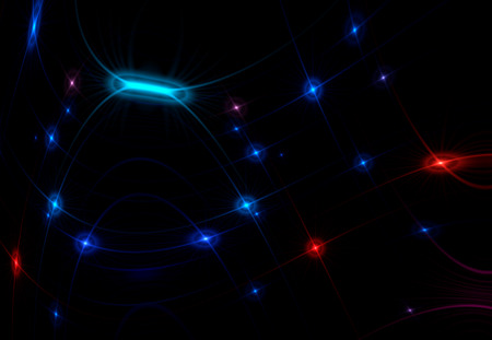Abstract space starry backdrop illustration composed of stylized stars that form a pattern over dark background. Some distortion have been applied to show gravitational lensong effect. Can be used as a wallpaper.