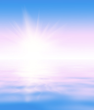 horison: Abstract natural blur serene background (backdrop) with sky and water surface (wave pattern) divided by the horison line (skyline) on which the sun is rising. Tender blue and pink gradient along with multiple glares (flashes, spickes, speckes, blinks) and Stock Photo