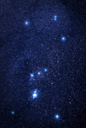 Universe space image: real photo of starry night sky with the winter Orion constellation. The shot was done with total exposure time 54 minutes. Several nebulae are clearly visible. Stock fotó - 32638983