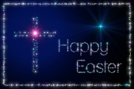 sparking: Illustration representing an Happy Easter greeting gift card with a cross and inscription made of twinkling sparking variegated stars.