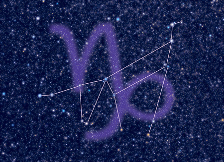 correspond: Capricorn (The Sea-Goat, Goat-horned) Zodiac constellation. Capricornus sign corresponds to period from 22 December to 20 January. Picture of star sky area look as at the real night sky with stars whose brightness, colors and positions correspond to real