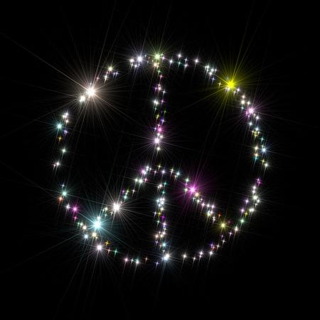 multicoloured: Peace symbol composed of multi-coloured stars isolated on black background.