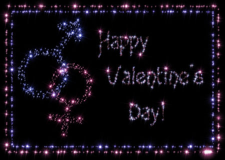 venus: Illustration representing a Valentines Day card composed of stars with gender symbols (Mars and Venus) made of multicolor stars, starry frame (border) and an inscription Happy Valentines Day!.