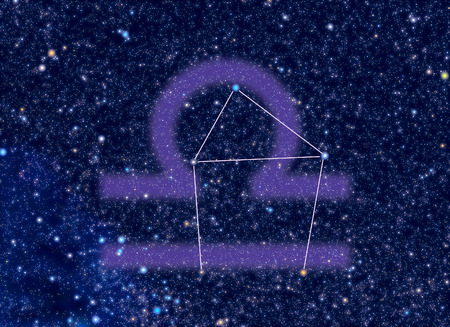 correspond: Libra (The Scales) Zodiac constellation. Libra sign corresponds to period from 23 September to 23 October. Picture of star sky area look as at the real night sky with stars whose brightness, colors and positions correspond to real stars.