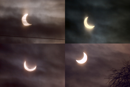 astrophoto: Different phases of the partial solar eclipse Januart 4th, 2011 in Moscow (Russia) shown by four panels. The sun partially covered by the Moon disk is visible through the clouds.