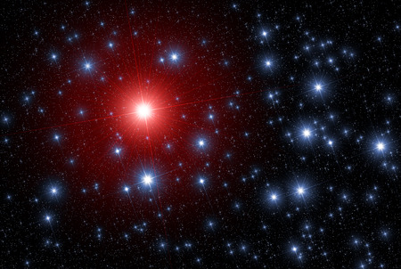 allegory: Star leader of red color which differs of other stars color and much more bright comparing to others as a symbol of leadership and difference.