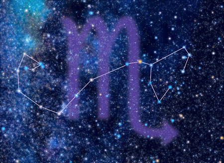 Scorpius (The Scorpion) Zodiac constellation. Scorpius sign corresponds to period from 23 October to 22 November. Picture of star sky area look exactly as at the real night sky with stars whose brightness, colors and positions correspond to real stars (re