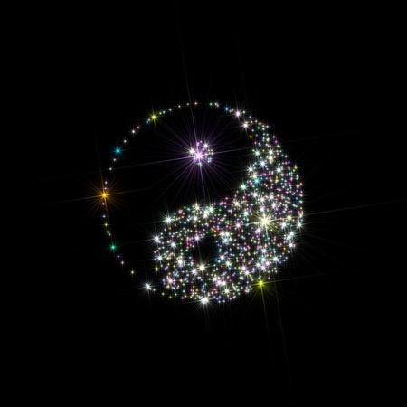 陰と陽の記号 (中国のシンボル) の図は、黒の背景に分離された星座のような多色の星が形成されました。 写真素材