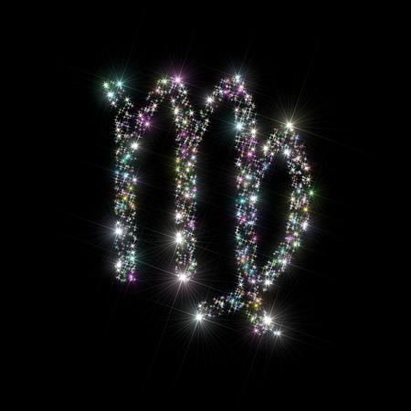 virgo: Resumen de la ilustración telón de fondo la astronomía  astrología del zodiaco que representa signo  símbolo para el virgo de la constelación de estrellas que centellean hecho abigarradas  multicolores brillantes aislados sobre fondo negro.