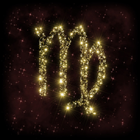 zodiak: Virgo Zodiak sign - astronomy or astrology illustration in which symbol corresponding to constellation is made of twinkling sparkling yellow (golden) stars on dark purple starry background with nebula. All is surrounded by dark border (frame, vignette).