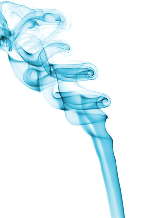 air movement: Abstract light blue pattern background that illustrates an elegancy concept: smoke from aroma sticks that is shaped by an air movement. Isolated over white background. There is an empty copy space to insert a text or an image.