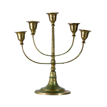 vermeil: Vintage antique  antiquarian table candlestick of bronze isolated on white background  backdrop