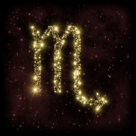 dark nebula: Scorpio Zodiak sign - astronomy or astrology illustration in which symbol corresponding to constellation is made of twinkling sparkling yellow (golden) stars on dark purple starry background with nebula. All is surrounded by dark border (frame, vignette). Stock Photo