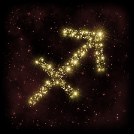 Sagittarius Zodiak sign - astronomy or astrology illustration in which symbol corresponding to constellation is made of twinkling sparkling yellow (golden) stars on dark purple starry background with nebula. All is surrounded by dark border (frame, vignet Stock Photo