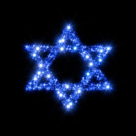 estrella de david: Resumen ilustración que representa decorativa David Estrella compone de estrellas espumosos centelleo azul como símbolo de la religión judía  cultura y el judaísmo. Está distribuido en un fondo negro. Foto de archivo