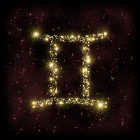 Gemini Zodiak sign - astronomy or astrology illustration in which symbol corresponding to constellation is made of twinkling sparkling yellow (golden) stars on dark purple starry background with nebula. All is surrounded by dark border (frame, vignette).