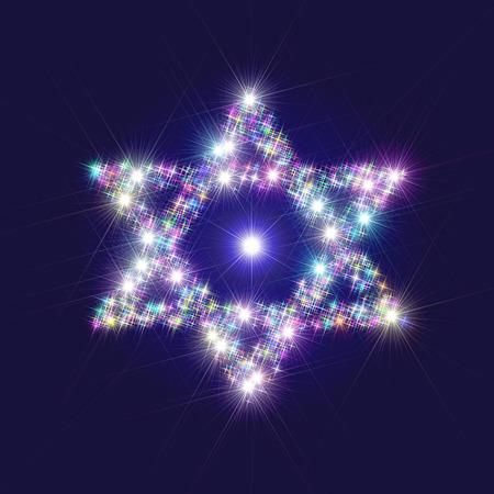 estrella de david: Resumen de la ilustración que representa decorativa David Estrella compone de centelleantes estrellas brillantes abigarradas  multicolor  multicolor como un símbolo de la religión judía  cultura y el judaísmo. Está distribuido en un fondo azul oscuro con una ligera pendiente. Foto de archivo