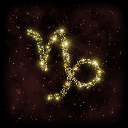 dark nebula: Capricorn Zodiak sign - astronomy or astrology illustration in which symbol corresponding to constellation is made of twinkling sparkling yellow (golden) stars on dark purple starry background with nebula. All is surrounded by dark border (frame, vignette