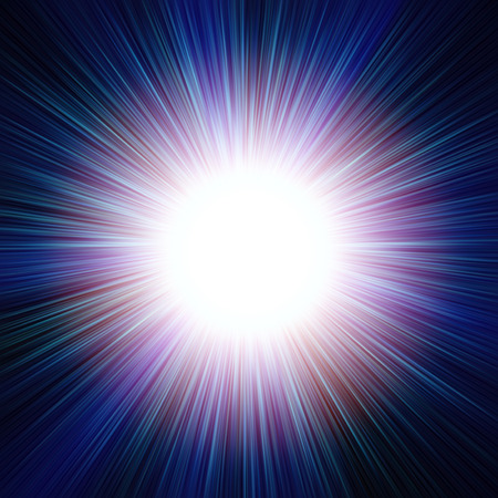 supernova: Abstract background (backdrop) cosmic illustration that represents a pattern of starburst or sunburst or supernova burst closeup with bright central disc (which fits to insert a text there), halo and long rays.