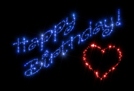 sparking: Illustration representing gift greeting cart composed of blue inscription Happy Birthday! and red symbol of heart. All is made of twinkling sparking stars and isolated on black background.