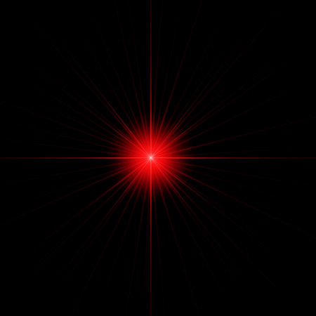 biblical: An abstract decorative illustration that shows red twinkling sparkling star with long rays isolated on the black background.  Can be used as a biblical symbol or just as a decoration. Stock Photo