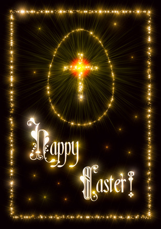 sparking: Illustration that represent a golden style abstract background made of twinkling sparking stars with christian latin cross and egg as symbols of Christianity, Jesus Christ, God and Easter and with inscription Happy Easter! .