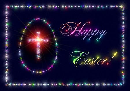 variegated: Illustration that represent an abstract background made of variegated twinkling sparking stars with christian latin cross and egg as symbols of Christianity, Jesus Christ, God and Easter and with inscription Happy Easter! .