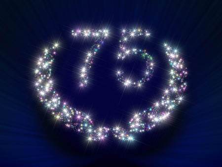 ciphers: Abstract background illustration representing a greeting gift card dedicated to 75 anniversary jubilee with figures and laurel wreath made of twinkling sparking variegated stars.