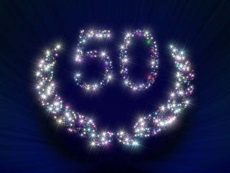 ciphers: Abstract background illustration representing a greeting gift card dedicated to 50 anniversary jubilee with figures and laurel wreath made of twinkling sparking variegated stars.