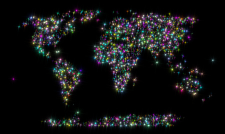 variegated: Abstract backgrount representing the world map of variegated varicolored stars isolated on black background. Stock Photo