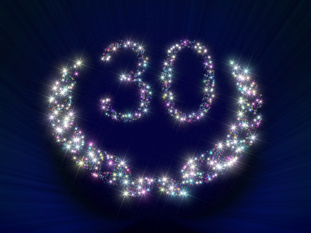 jubilation: Abstract background illustration representing a greeting gift card dedicated to 30 anniversary jubilee with figures and laurel wreath made of twinkling sparking variegated stars.