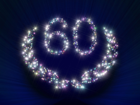 ciphers: Abstract background illustration representing a greeting gift card dedicated to 60 anniversary jubilee with figures and laurel wreath made of twinkling sparking variegated stars. Stock Photo