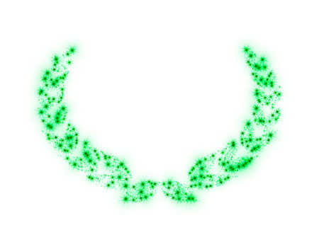 sparking: Illustration representing template for greeting gift card (jubilee, birthday, anniversary, etc.) with Laurel wreath made of twinkling sparking green stars isolated on white background. There is a copy space to insert a text or an image. Stock Photo