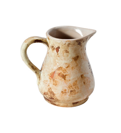 ewer: Decorative clay or ceramic jug or jar or ewer or vase isolated on white background.