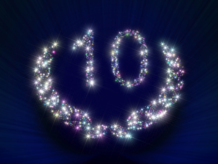 Abstract background illustration representing a greeting gift card dedicated to 10 anniversary jubilee with figures and laurel wreath made of twinkling sparking variegated stars. Stock Photo