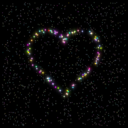variegated: Illustration: heart symbol composed of variegated multi-colored stars on the black background.