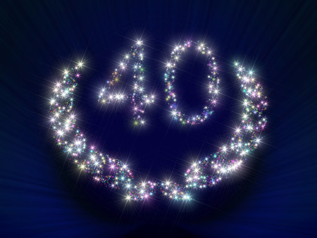 ciphers: Abstract background illustration representing a greeting gift card dedicated to 40 anniversary jubilee with figures and laurel wreath made of twinkling sparking variegated stars. Stock Photo