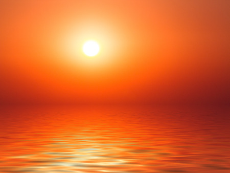 specific: Vibrant sunset on the sea with waves on the water surface, sun and orange red  sky. All this makes a specific nature pattern. Stock Photo