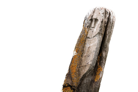 Ancient stone tribal ritual idol (totem) isolated over the white background.